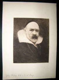A. W. Bayes C1880's Etching. John Phillips R. A. Portrait.